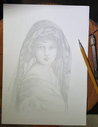 woman vintage silverpoint draw by sandrof10
