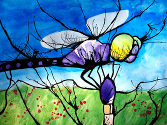 Dragonfly On a Paintbrush