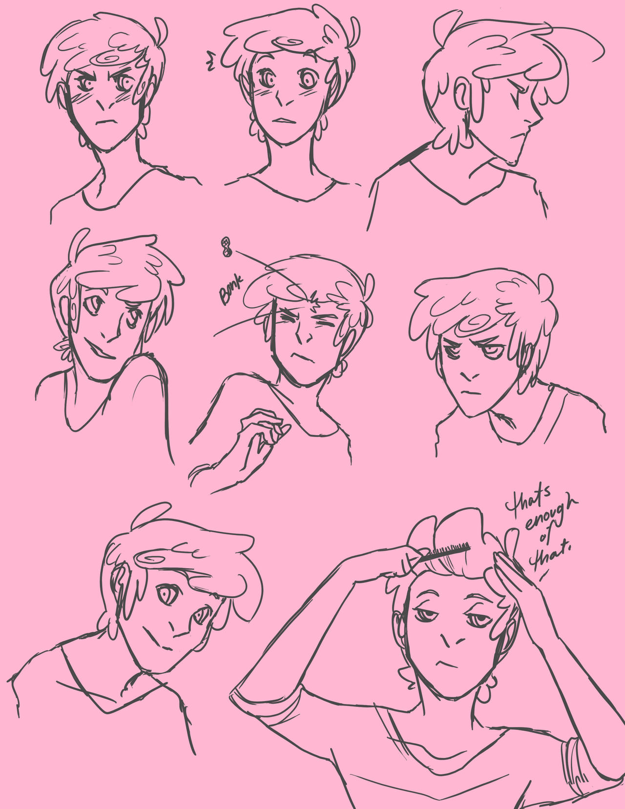 Prince Gumball Unstyled Hair Sketches by Hootsweets