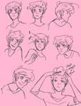 Prince Gumball Unstyled Hair Sketches