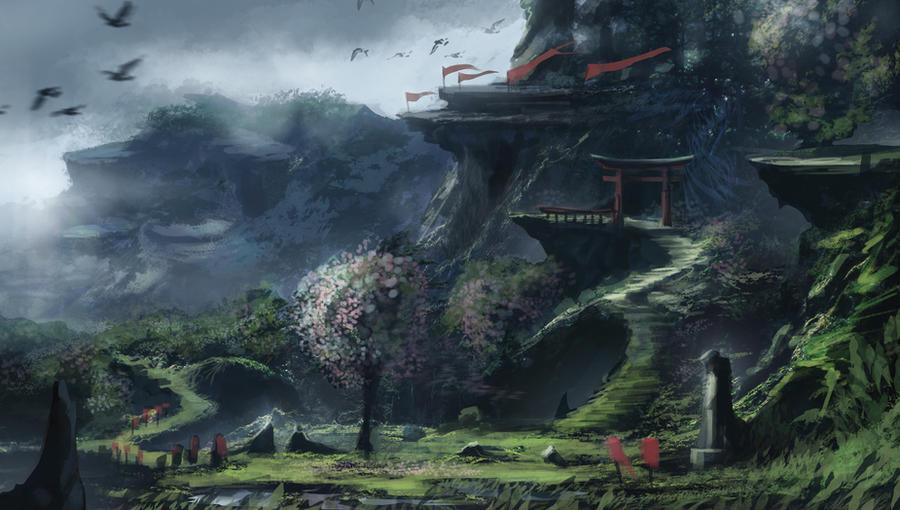 Concept Art : Japan Temple by Gycinn