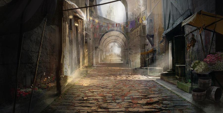 Misión: liberar al proscrito. (Llew y Luhx) Concepting_a_medieval_street_by_gycinn-d7jzbtf