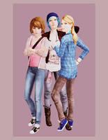 life is strange. max, chloe and rachel by kskripann23