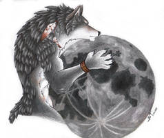 Comission hugging the moon