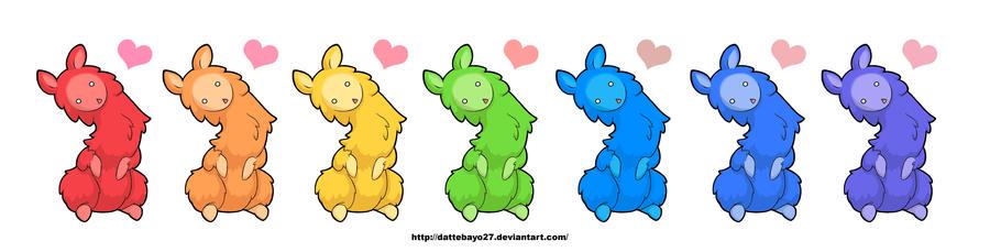 Rainbow llamas by kiteus