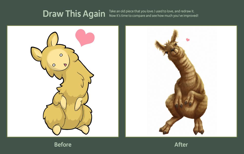 Draw this Again: Llama by kiteus