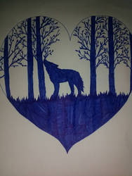 Wolf in a heart forest