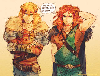Male! Merida and Astrid by MabyMin