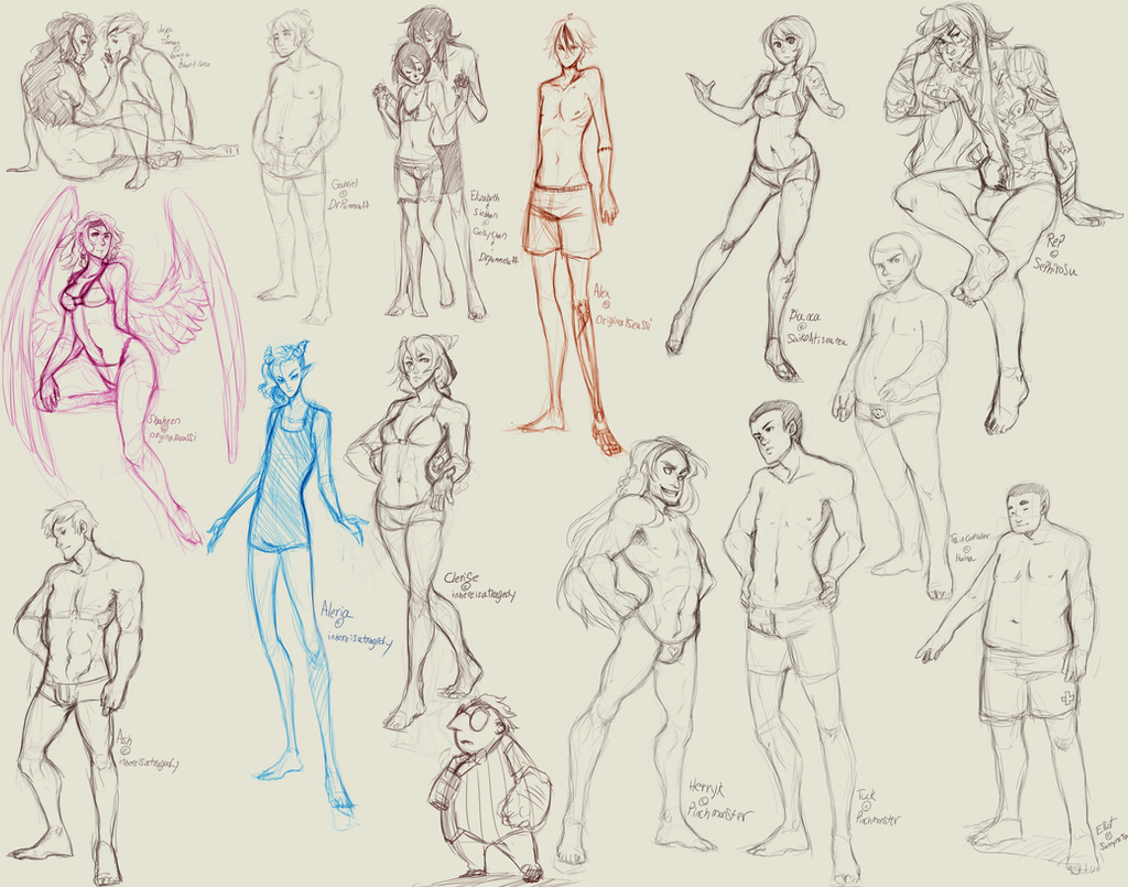 Character Design Body Shapes : Different body types character sketches by bloodnspice on
