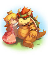 Peach and Bowser by LibertyMae