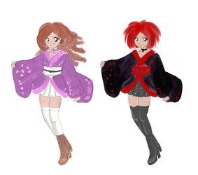 Cute Gal and Cute punky kimono by Bastet-sama