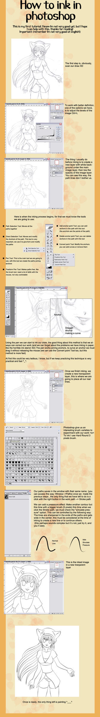 How to ink in photoshop tut. by Bastet-sama