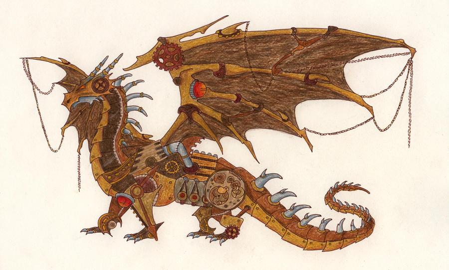Steampunk Dragon by ThePotatoStabber