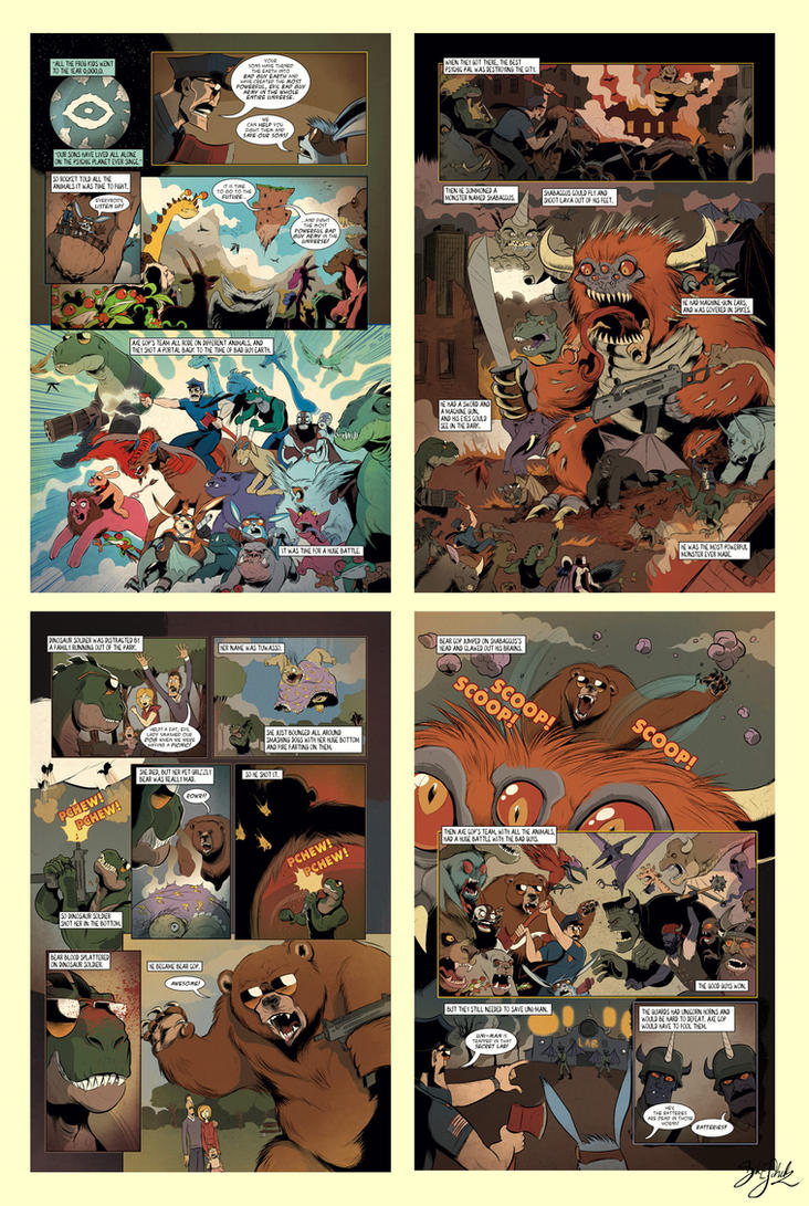 Axe Cop Issue 3 -Color Preview by Themrock