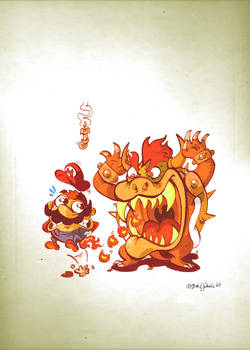 Little Bowser attacks Mario