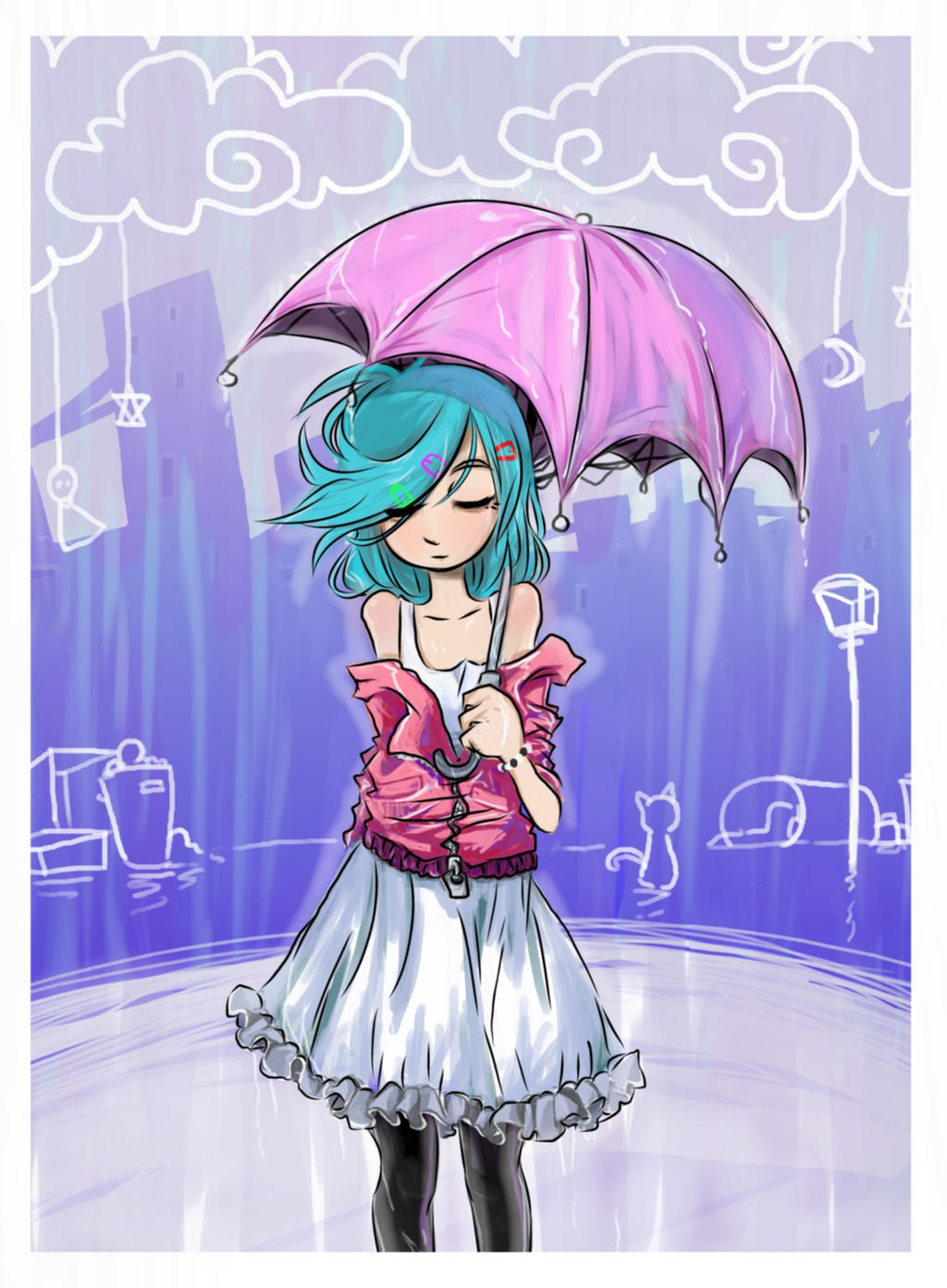Out in the rain by Jump-Button