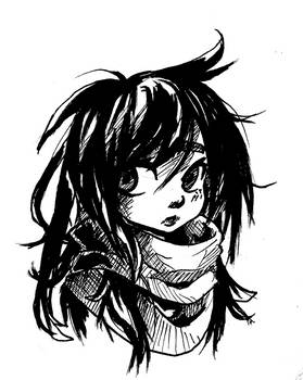 Inktober 2018 week 2 Messy Wind Hair by Jump-Button