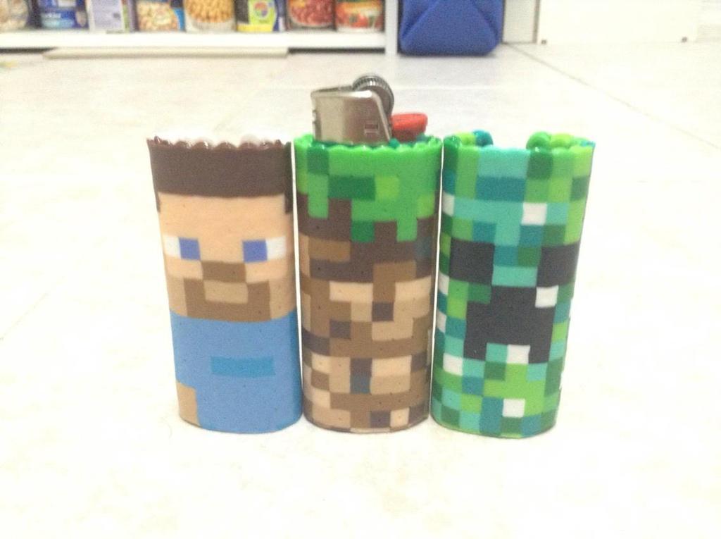 Minecraft Themed BIC Lighter Cases by Werbenjagermanjensen