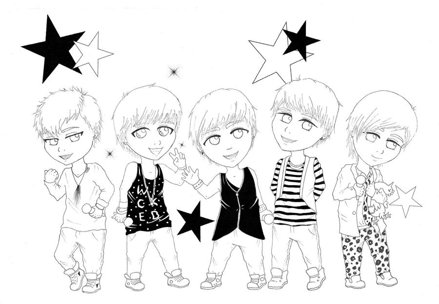 exo coloring pages   Shinee Coloring Pages Sketch Coloring Page
