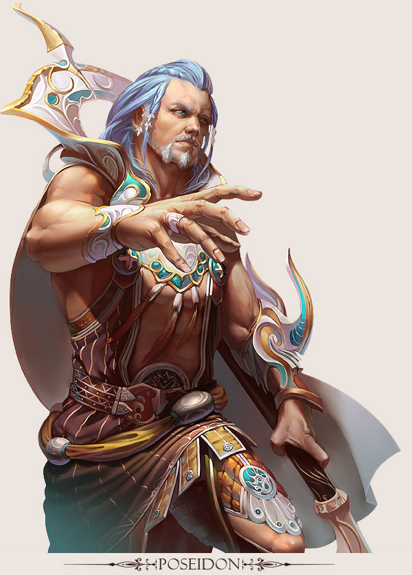 Character Design Digital Art : Mmo game character design poseidon by yuchenghong on