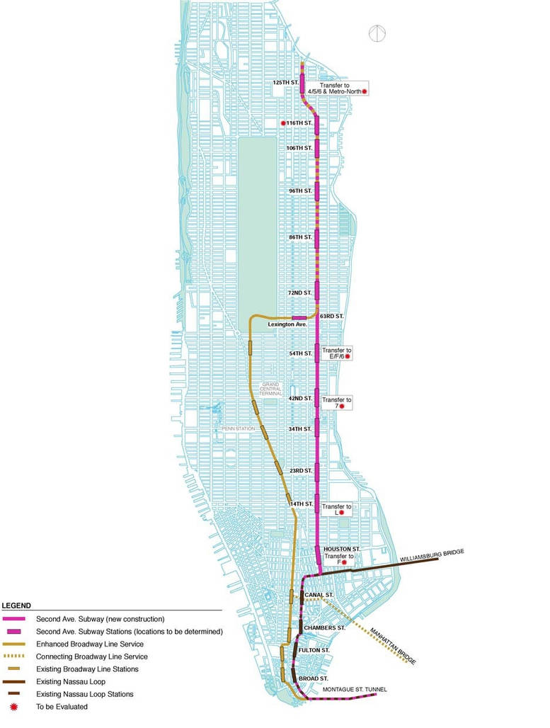 Subway Map With Second Avenue.Second Avenue Subway Nassau Street Alternative By Roadcruiser1 On