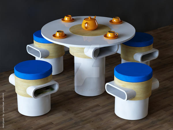 Coffee table + stools by creativegenie