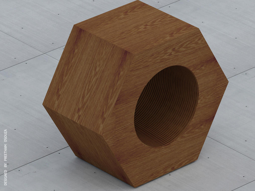 Nut stool wood by creativegenie