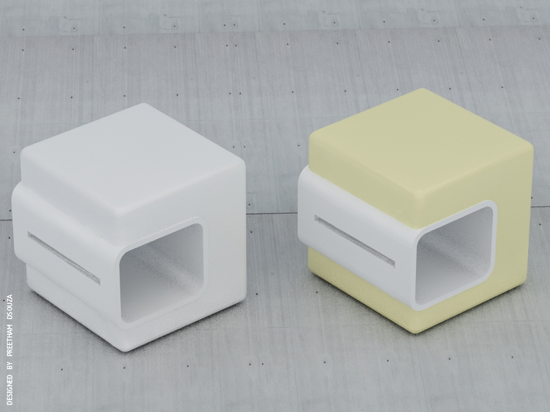 B ox stool   -white + cream by creativegenie