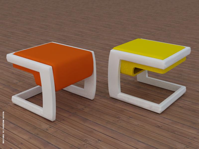 Stool With Storage Orange And Yellow