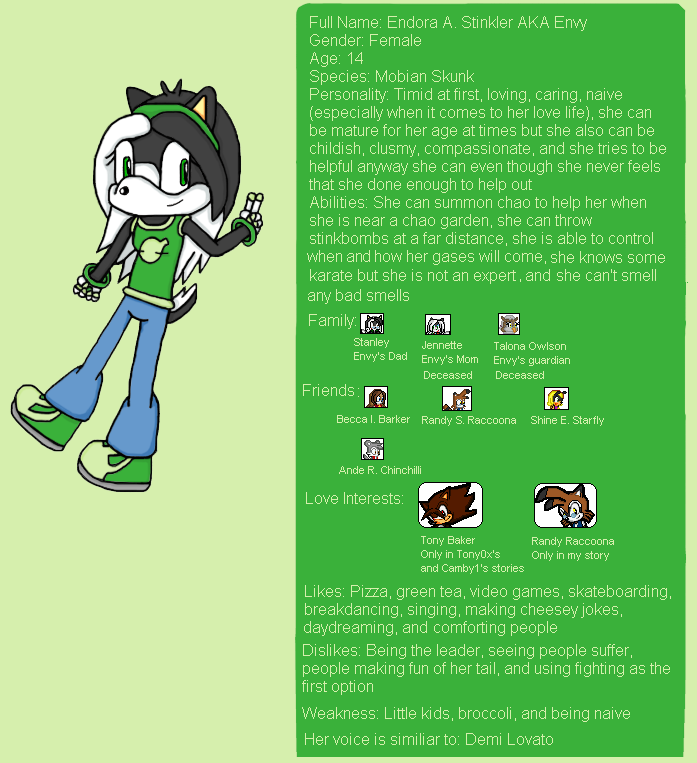 Envy's Profile and Story by Envytheskunk