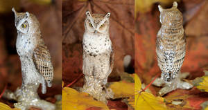 Great horned owl, silver