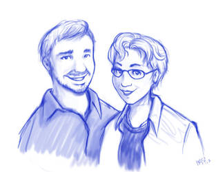 Blue Ink Portrait: Doug and Lucy by inkjetcanvas