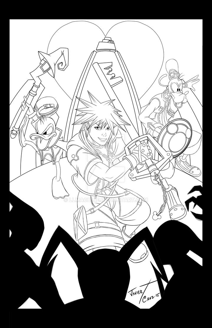 Kingdom Hearts lineart by LLMachine