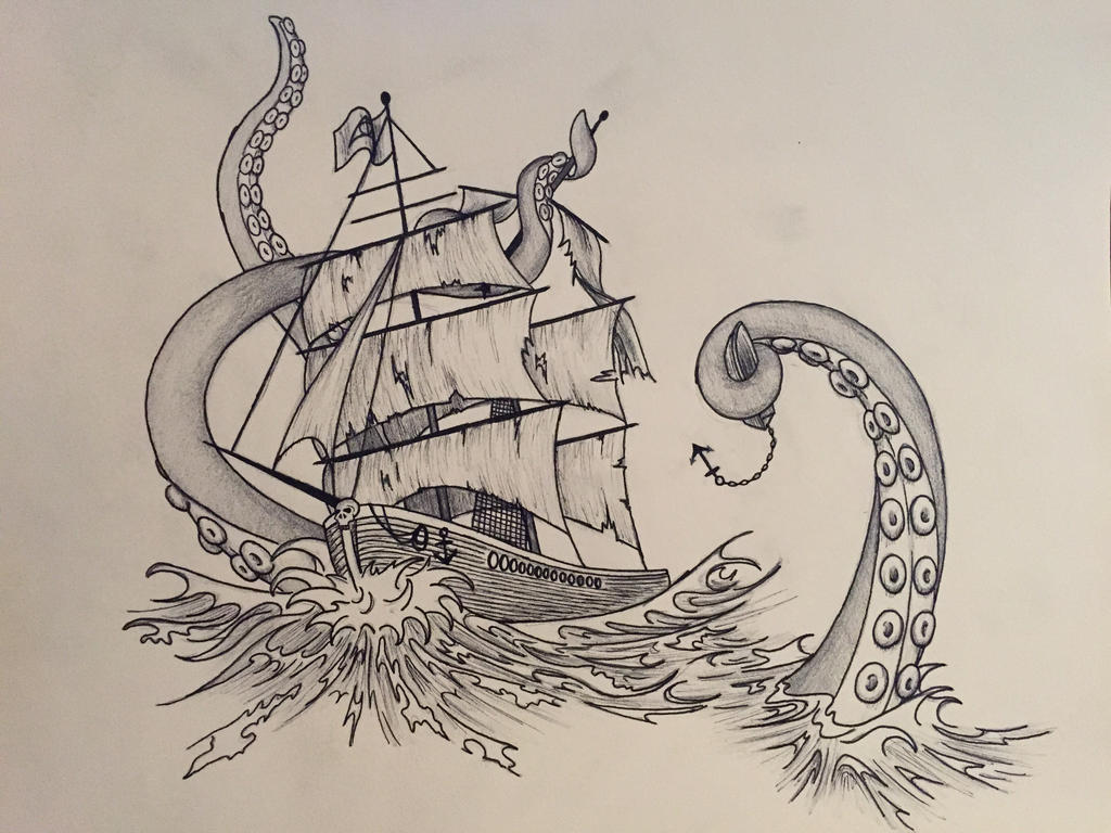Pirate ship underwater drawing