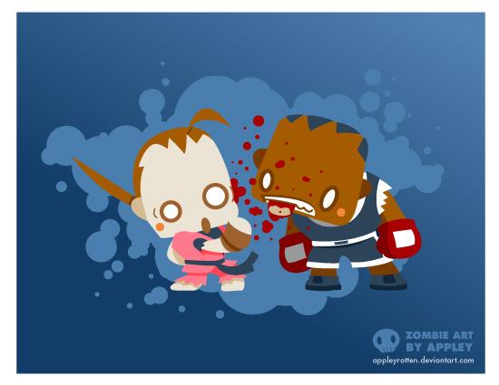 Zombie Balrog vs. Dan by appleyrotten