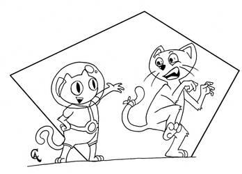 Cookie Cat meets Coio Cat (Nanquim) by Quincas-OF