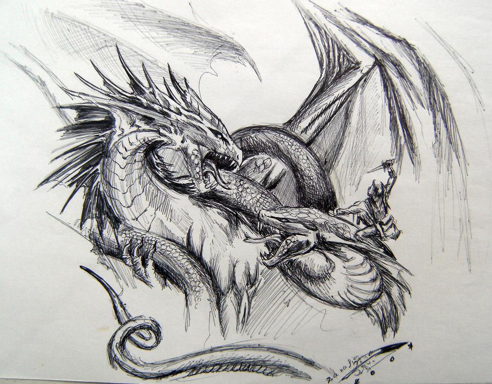 Bronze Dragon VS Basilic by Zanafia
