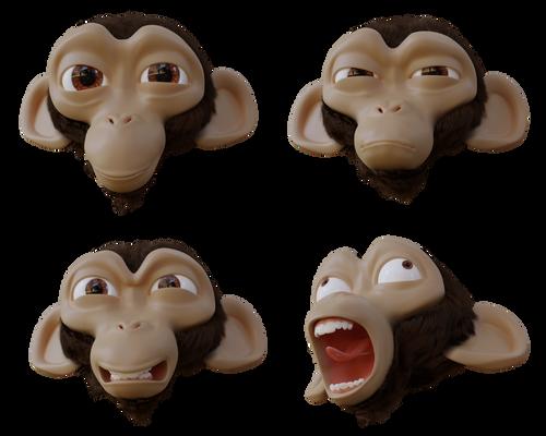 Cartoon chimp head facial expressions