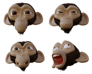 Suzanne head facial expressions (+free 3D model)