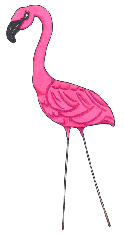 Angry Lawn Flamingo by zenafluff