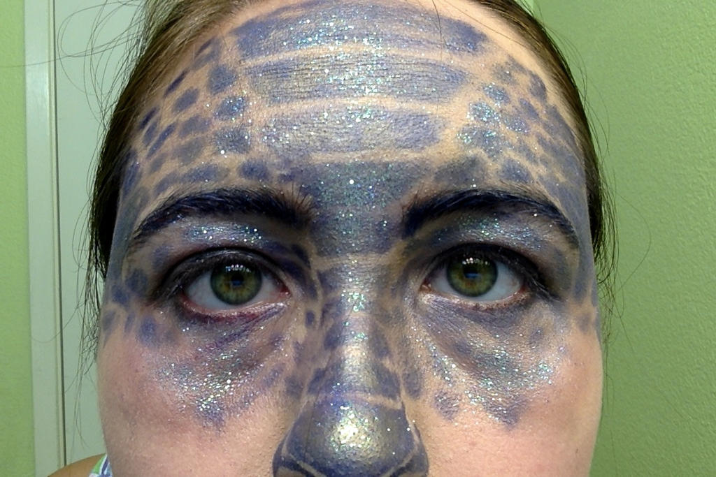 Dragon Scale Makeup Attempt 1, Closeup by DNA-The-Authoress
