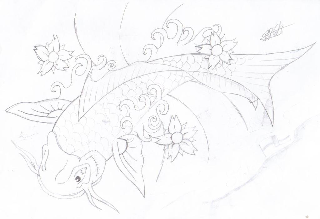 Art Line Work : Koi line work by nebthedeviantuk on deviantart