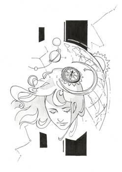 Inktober, day 16: Compass