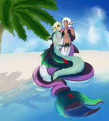 (Art Trade) Seaside Snuggles