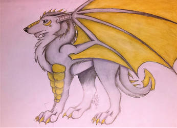 Silver and Gold Wolf Dragon (Redraw) by lotrfanforlife