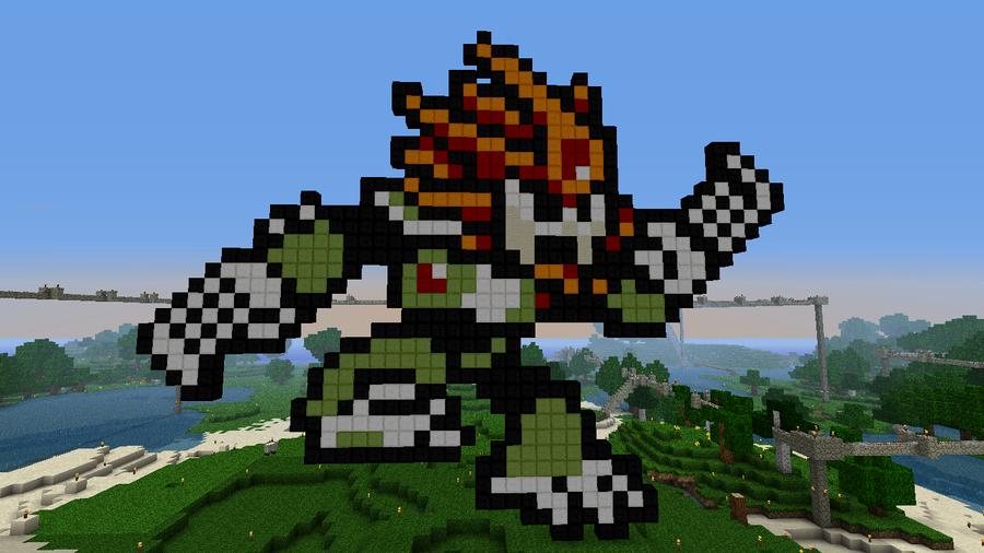 Minecraft 8-bit Slash Man by tam6231990