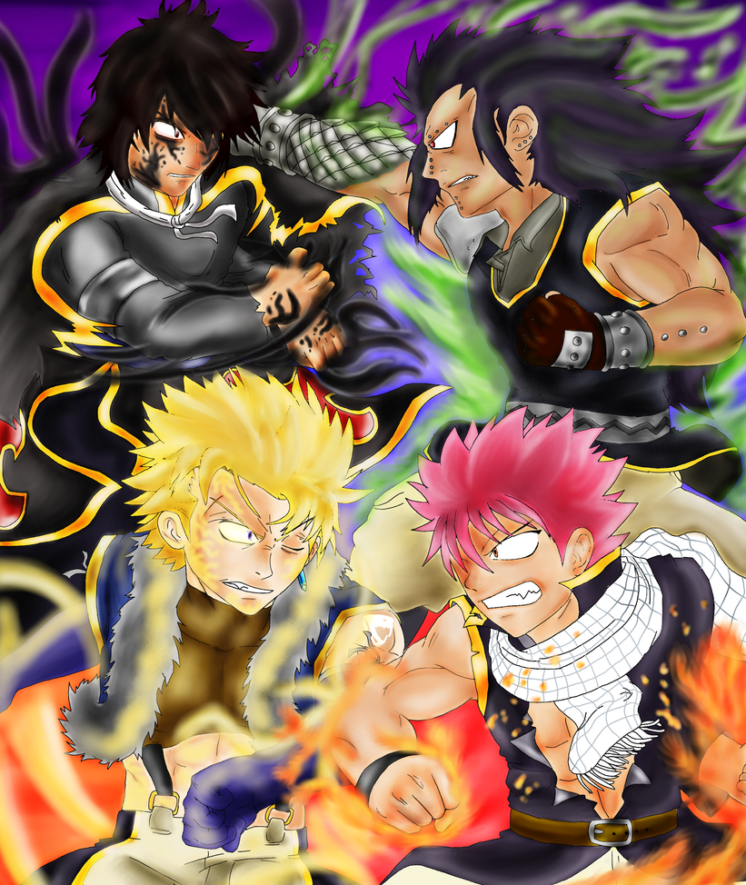Natsu-Gajeel VS Sting-Rogue color by guerreroOmegaGajeel Vs Rogue