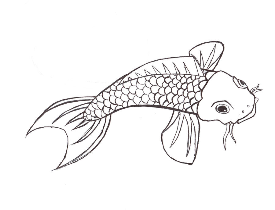 Simple Koi Art Koi Line Art by Zanesirius