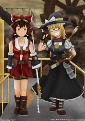 Reimu and Marisa Steampunk by k4glimit