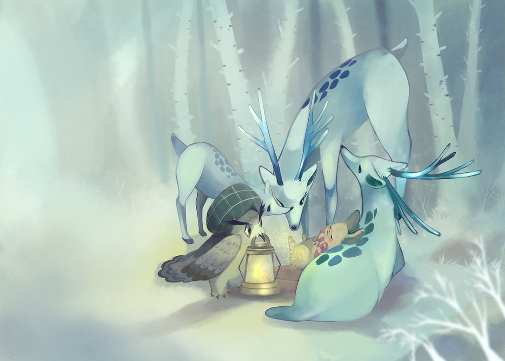 A visitor of pale forest by fffiesta
